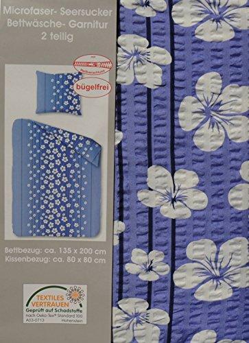 Home-Impression 2 Tlg, Microfaser Seersucker Bettwäsche 135x200cm + 80x80cm BÜGELFREI (213 Blau Blumen)