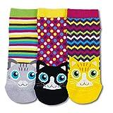 trendaffe Katzen Füsslinge Socken in 37-42 im 3er Set - Kätzchen Füßlinge Strumpf