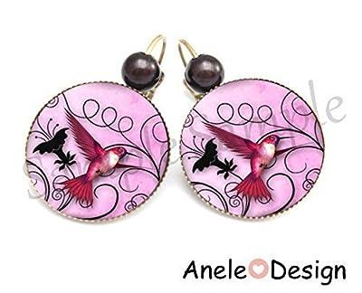 Boucles d'oreille oiseau colibri rose