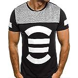 Storerine Herren Klassisches gestreiftes Kurzarm-Shirt gestreiftes gedrucktes dünnes Spleiß-beiläufiges Art-Top Bluse