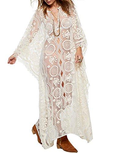 Santwo sexy costume da bagno Cover Up pizzo floreale Abito lungo spiaggia Beachwear White(Style A) Taglia unica