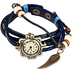 Bohemian Style [Waterproof] Retro Handmade Leather [Angel Wing Pendant Wrist Watch] Fashionable, Luxury & Stylish Weave Around [Wrap Watch Bracelet] For Women Ladies Girls. [Scratch Resistant]- Blue