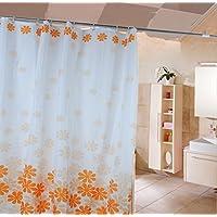 HJL flor del melocotón sin cortina de ducha de poliéster decoloración 180 * 200cm Naranja