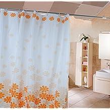 HJL Peach Blossom senza sbiadire poliestere Shower Curtain 180 * 200cm arancione - Natale Tenda Della Doccia