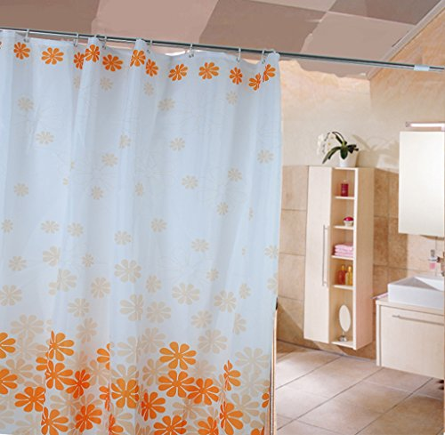 HJL Peach Blossom ohne Polyester Dusche Verblassen Vorhang 180 * 200cm Orange (Peach Farbe Duschvorhang)