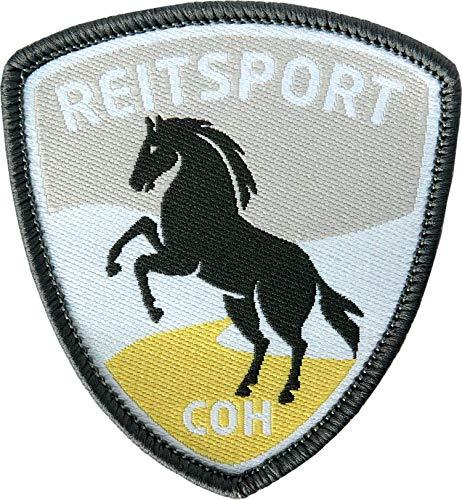 2 x Reitsport Abzeichen gewebt 55 x 60 mm / Pferd Reiten Pferde-Sport Reit-Abzeichen / Aufnäher Aufbügler Flicken Sticker Patch / Reit-Bekleidung Reit-Ausrüstung Dressur Spring Voltigieren Reitkunst -
