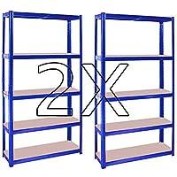 2X (1500 x 700 x 300) mm heavy duty boltless metal steel shelving shelves storage unit Industrial easy to assemble