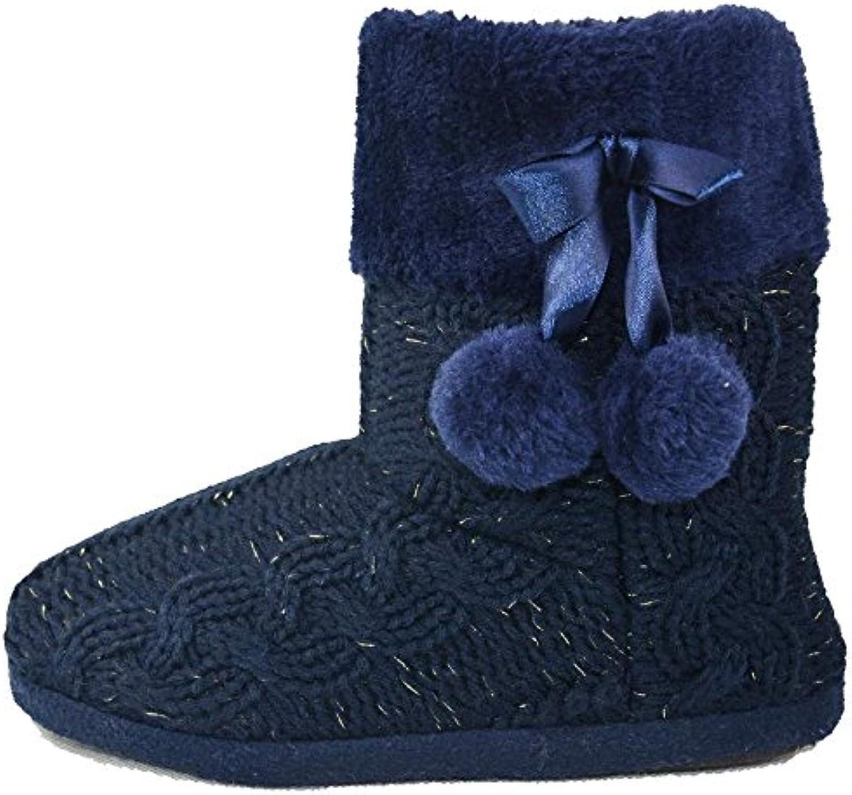 Hausschuhe Damen Pantoffeln Stiefel Schuhe mit weichen Pom Poms Slippers Airee Fairee