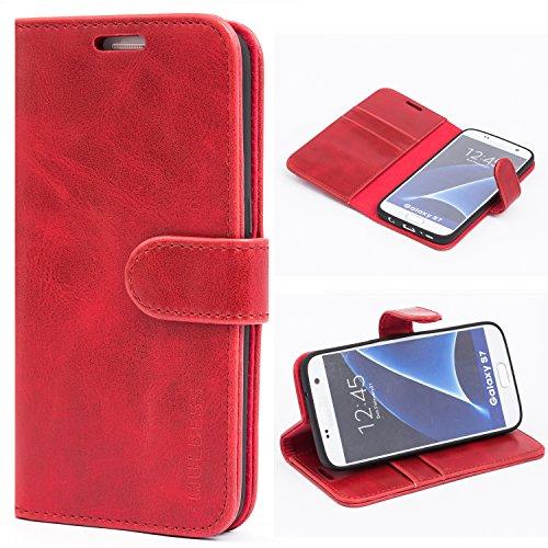 Mulbess Ledertasche im Ständer Book Case / Kartenfach für Samsung Galaxy S7 Tasche Hülle Leder Etui,Wine Rot