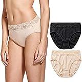 DELIMIRA Damen Baumwolle Spitze Slips Sexy Unterwäsche Low Rise Bikini,2er Pack Schwarz/Beige S