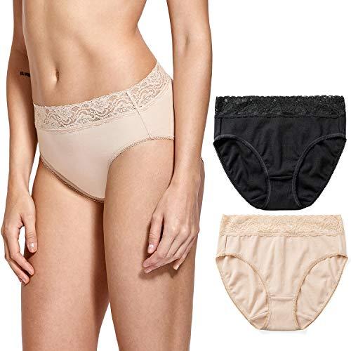 DELIMIRA Damen Baumwolle Spitze Slips Sexy Unterwäsche Low Rise Bikini,2er Pack Schwarz/Beige XL - Baumwolle Low Rise Bikini