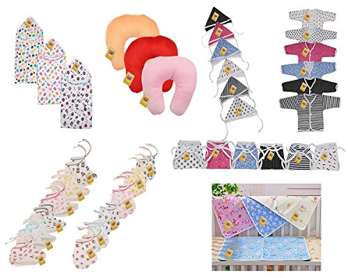 Fareto® New Born Baby Combo Of 5 Daily Essential Items In A Single Packet/3 Cotton Blankets/3 Pillows/ 6Pcs Shirt,6 Pcs Cap, 6 Pcs Nappy/6 Pair Of Socks,6 Pair Of Mittens/4 Plastic Changing Sheets(0-6 Months,Multicolors)