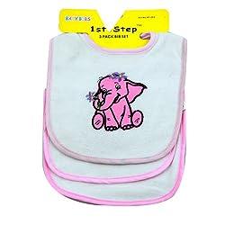 1st Step Baby Bib Set 3Pcs Pack 0M+ ST-223 - Pink, 0M+