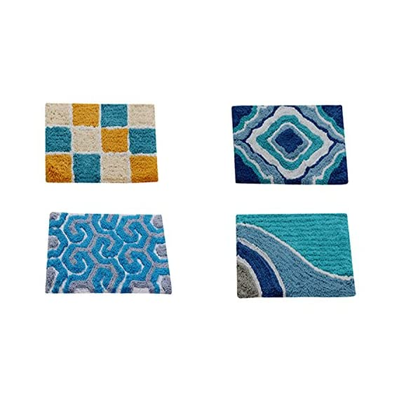 AAZEEM Abstract 4 Piece Cotton Door Mat Set - 16 x 24, Multicolour