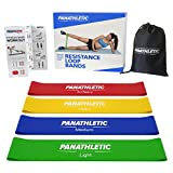 Fitnessbänder / Widerstandsbänder, 4er Set von Panathletic, mit Anleitung, eBook auf Deutsch und Tragebeutel – 4x Fitnessband, Widerstandsband, Gymnastikband, Trainingsband, Übungsband, Fitness Band, Gymnastikbänder, Trainingsbänder, Loop Bänder, Mini Bands, Übungsbänder