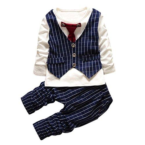 Jamicy®Fashion Kinder Baby Warm Baumwolle Karierte Tops + Hosen + Mantel für Jungen und Mädchen 6Monat - 3Jahre (6-12Monat, Blau) (Hello Kitty Outfit Ideen)