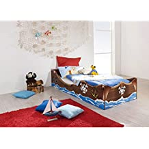 AVANTI TRENDSTORE - Kinderbett mit Piratmotiv in Kernnuss Dekor, ca. 93x44x64 cm