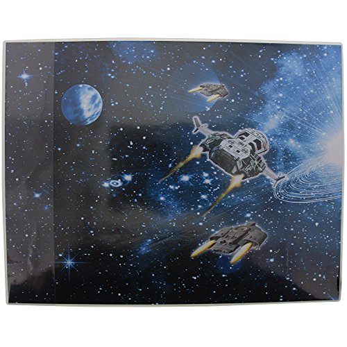 Goldbuch Schreibunterlage, Raumschiff, 49 x 38 cm, Mit seitlicher Einstecklasche, Laminierter Kunstdruck, Dunkelblau/Schwarz, 75570