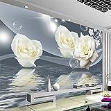 Wapel Frische Elegante Weiße Rose Blume Bubble Fototapete Wohnzimmer Hintergrund Wall 3D Wandbild Umweltfreundlich Moisture-Proof Seidenstoff 200x140CM