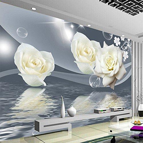 te Weiße Rose Blume Bubble Fototapete Wohnzimmer Hintergrund Wall 3D Wandbild Umweltfreundlich Moisture-Proof Seidenstoff 200x140CM (Dinosaurier Bubble)