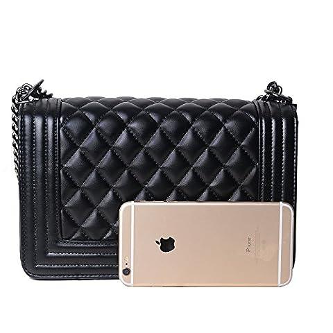 ToYu Design Frauen Karriere OL Handtasche kariert Kette Tasche Umhaengetasche Mode-Strasse Damentaschen (schwarz)