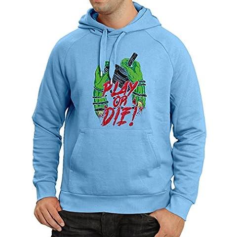 Sweatshirt à capuche manches longues Jouer ou mourir - pour les joueurs seulement! (XX-Large Bleu