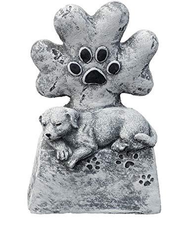 Grabschmuck Grabstein Hund mit Tatze, Frost- und wetterfest, massiver Steinguss