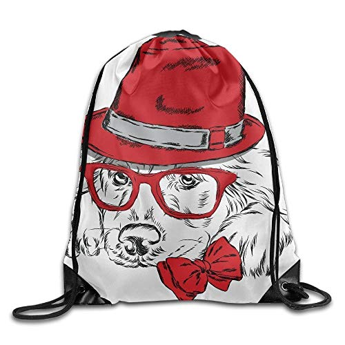 Naiyin Unisex A Dog with A Red Hat and Tie Glasses Print Drawstring Backpack Rucksack Shoulder Bags Gym Bag Sport Bag