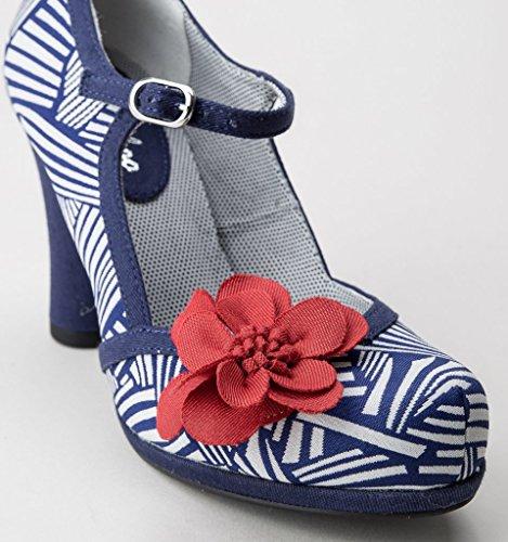 Ruby Shoo Tanya Navy White Womens Bar Hi Heels Shoes Blue With White