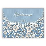 Hellblaue Vintage Glückwunschkarte mit Retro Kirschblüten Muster zur Hochzeit, Taufe, Geburt, Examen etc: Glückwunsch