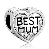 Best Mum Pugster plateado en forma de corazón 925 colgantes pulsera Pandora de regalos de ajuste para madre