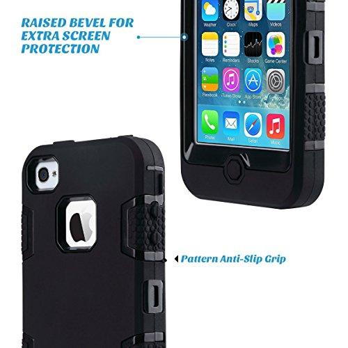iPhone 4 Custodia - SUPAD® iPhone 4S Custodia Slim Fit sottile doppio Defender Case strato armatura Hybrid Coprire Silicone Cover per Apple iPhone 4/4S (Nero) Nero
