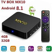 TV Box Android 8.1 -MX10 TV Box de 4GB 32GB, Soporte 2.4G WiFi Connected 64bit Quad-Core 3D 4K HDR Reproducción de Video Smart TV Box