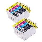 PerfectPrint Kompatibel Tinte Patrone Ersatz für Epson BX3450 Stylus CX4300 D120 D5050 D78 D92 DX400 DX4000 DX4050 DX4400 DX4450 DX5000 DX5050 DX6000 DX6050 T0715 (Schwarz/Cyan/Magenta/Gelb , 10-Pack)