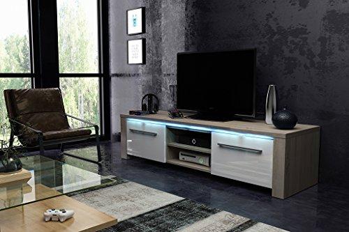 TV Meuble Marco avec LED bleu (sonoma / blanc)