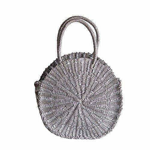 H-ONG Straw Bag Handmade Handbag Women Weave Shoulder Bag Round Straw Beach Bag Purse for Women Ladies (Dark Gray)