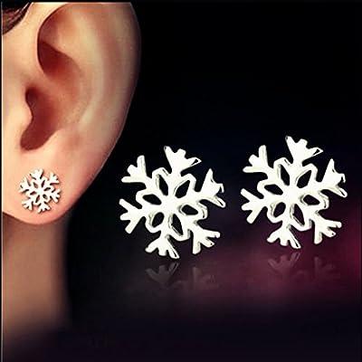 Youmei® Silver JewelrySnowflake Ear StudsEarringsfor Women GirlAnti-allergy and No Discoloration