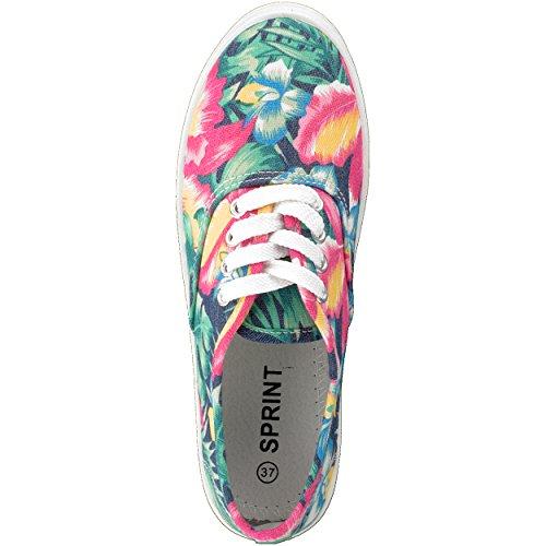 Sneaker Schnürrschuh Freizeitschuh Unisex im Floral-Designe - verschiedene Farben - Größen: 36-41 - von Brandsseller Grün/Pink