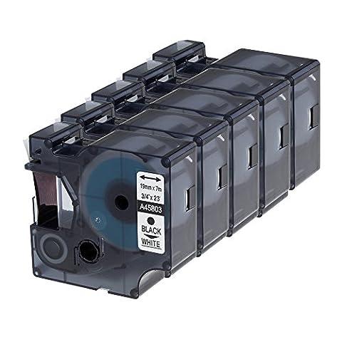 Markurlife 5x Kompatible Etikettenbänder Schriftbänder Ersetzt für Dymo D1 45803 Bandkassette 19mm breit und 7m lang Beschriftungsbänder Schwarz auf Weiß Schriftbandkassette Anzug für DYMO LabelManager 300 / 350 / 350D / 360D / 400 / 420P / 450 / 450D / 500TS / PC / PC II ; DYMO LabelPoint 300 / 350 ; DYMO LabelWriter 400 Duo / 450 DUO ; 3M PL150 / 3M PL200 / 3M PL300