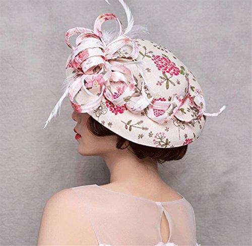 JJXJJ Blumen Feder Stirnband Fascinator Hochzeit Kopfbedeckungen Damen Racing Royal Ascot Cocktail