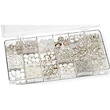 Gütermann / KnorrPrandell 6050000 - Caja con perlas de cristal para bisutería (tamaños surtidos), color blanco [importado de Alemania]