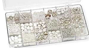 Gütermann / KnorrPrandell 6050000 - Caja con Perlas de Cristal para bisutería (tamaños Surtidos), Color Blanco Importado de Alemania