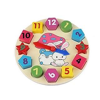 Ahatech Kinder Holz Geometrie Uhr Spielzeug