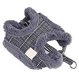 No-Pull Hundegeschirr Lease Führen Seil Weste Brustgurt Einstellbare Plüsch Cord Warme Winter für Training Gehen(L-Grau)