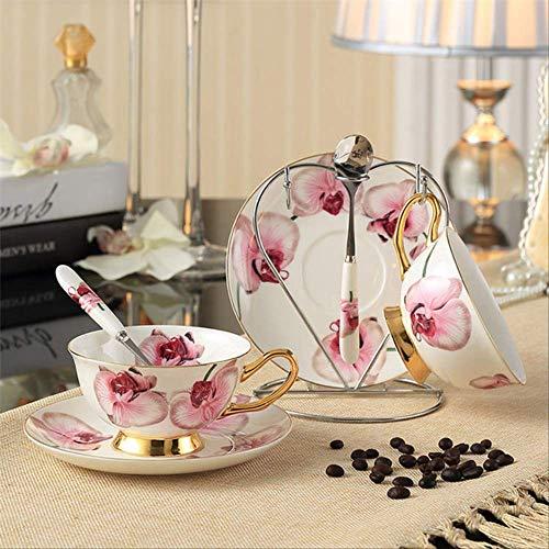 Qyydmkb pastorale britannica bone china tazza di tè piattino portasapone set romantico amante in ceramica tazza di caffè san valentino tazza da tè phalaenopsis