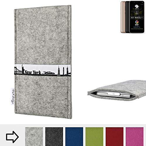 flat.design für Allview A9 Plus Schutzhülle Handytasche Skyline mit Webband New York - Maßanfertigung der Schutz Tasche Handycase aus 100% Wollfilz (hellgrau) für Allview A9 Plus