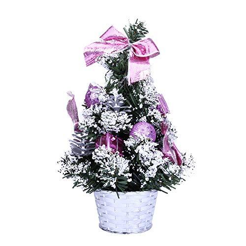 About1988 Mini Weihnachtsbaum, Kleine Weihnachten Schreibtisch Baum, Plastik, Grün, 25cm (Lila)