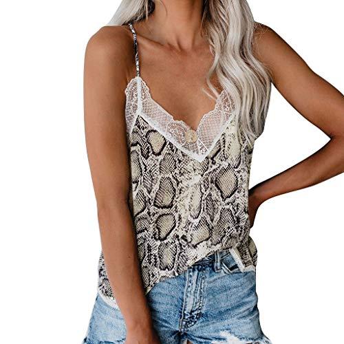 1dd4081e2c6777 COZOCO 2019 Fashion Camisole Fashion Damen Camis Tops Plain Snake Print  Weste Top Ärmellose Bluse Freizeit