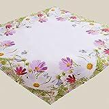 Fashion&Joy Tischdecke bunt bedruckt mit Blumenwiese Mitteldecke 85x85 cm weiß mit Digitaldruck Blumen - Sommer Chic Tischwäsche Typ407