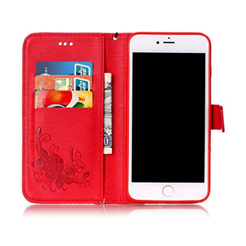 iPhone 8 Plus custodia a portafoglio, Ledowp Apple iPhone 8 Plus Premium custodia a portafoglio in pelle PU, Full Body Butterfly pattern design magnetico staccabile in pelle portafoglio Flip Cover per Red